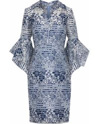 Badgley Mischka - Fluted Woven-paneled Floral-jacquard Dress - Lyst