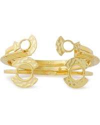 Noir Jewelry - Woman Set Of Three Hammered Gold-tone Cuffs Gold Size -- - Lyst