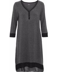 DKNY - Chiffon-trimmed Stretch Modal-jersey Nightdress - Lyst