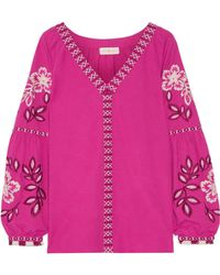 Tory Burch - Therese Embroidered Cotton Top - Lyst