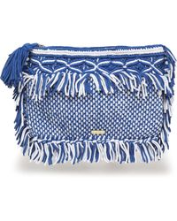 Melissa Odabash - Fringed Crocheted Cotton Pouch Cobalt Blue - Lyst