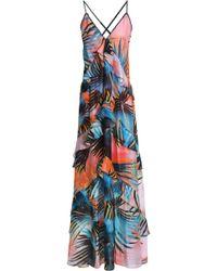 Just Cavalli - Ruffled Printed Silk Maxi Dress - Lyst