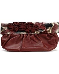 Valentino - Floral-appliquéd Python-paneled Leather Clutch - Lyst