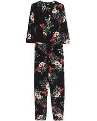 Nicholas - Woman Wrap-effect Floral-print Silk Crepe De Chine Jumpsuit Black Size 0 - Lyst