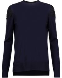 Adam Lippes - Corded Lace-paneled Wool Jumper Midnight Blue - Lyst