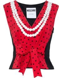Moschino - Woman Bow-embellished Printed Silk Top Black - Lyst