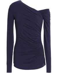 Bailey 44 - One-shoulder Ruched Stretch-jersey Top Dark Purple - Lyst