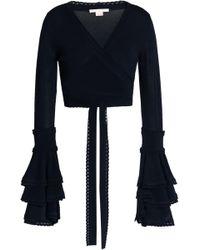 Antonio Berardi - Cropped Ruffled Stretch-knit Wrap Top - Lyst