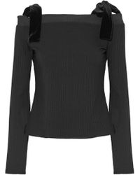 W118 by Walter Baker - Cold-shoulder Velvet Bow-detailed Ribbed-knit Top - Lyst