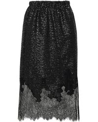 Robert Rodriguez Chantilly Lace And Sequined Knitted Skirt Black