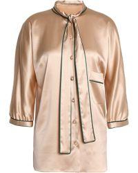 Dolce & Gabbana - Draped Silk-blend Satin Shirt - Lyst