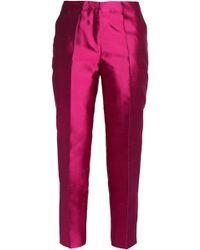 Etro - Silk-shantung Slim-leg Trousers - Lyst