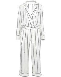 Brunello Cucinelli - Striped Silk-twill Jumpsuit - Lyst
