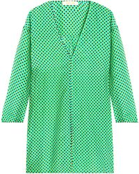 Diane von Furstenberg - Striped Cotton And Silk-blend Coverup Bright Green - Lyst