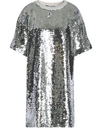 Love Moschino - Sequined Cotton-blend Mesh Mini Dress - Lyst