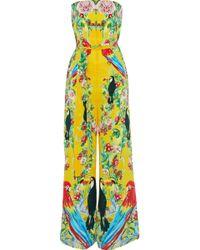 Camilla - Animal Instinct Strapless Embellished Printed Silk Jumpsuit - Lyst