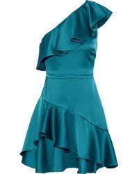 Halston - One Shoulder Flounce Dress In Teal - Lyst