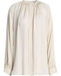 Vince - Gathered Silk Blouse - Lyst