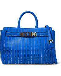 Moschino - Studded Leather Shoulder Bag Cobalt Blue - Lyst