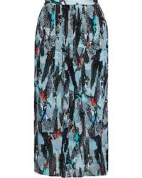 Markus Lupfer - Printed Plissé Georgette Midi Skirt Sky Blue - Lyst