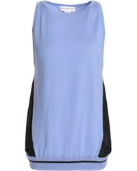 Amanda Wakeley - Ray Voile-paneled Silk, Wool And Cashmere-blend Top - Lyst