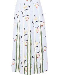 SUNO | Grosgrain-paneled Printed Silk Crepe De Chine Midi Skirt | Lyst
