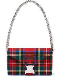Christopher Kane - Devine Checked Twill Shoulder Bag Tomato Red - Lyst
