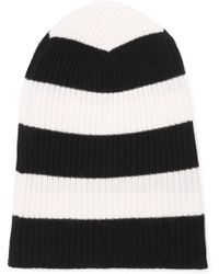 Autumn Cashmere - Striped Ribbed Cashmere Beanie - Lyst