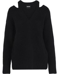 Monrow - Cold-shoulder Waffle-knit Wool-blend Jumper - Lyst