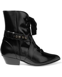 Philosophy Di Lorenzo Serafini - Lace-up Velvet-trimmed Glossed-leather Ankle Boots - Lyst