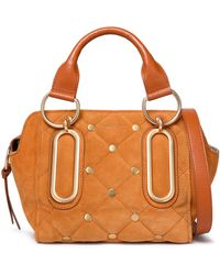 See By Chloé - Paige Leather-trimmed Quilted Suede Shoulder Bag - Lyst