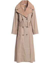 Oscar de la Renta - Leather-trimmed Cotton-twill Trench Coat - Lyst