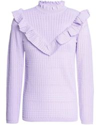 Sandro - Ruffle-trimmed Pointelle-knit Jumper - Lyst