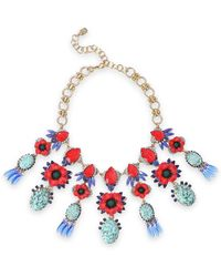 Elizabeth Cole - Mezzi 24-karat Gold-plated, Resin, Stone And Swarovski Crystal Necklace Red - Lyst