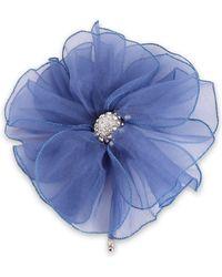 Lanvin Silver-tone, Crystal And Organza Brooch Blue