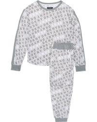 DKNY - Mélange Printed Jersey Pyjama Set Light Grey - Lyst