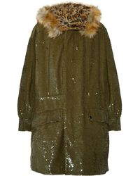 Ashish - Sequined Cotton And Faux Fur Parka - Lyst