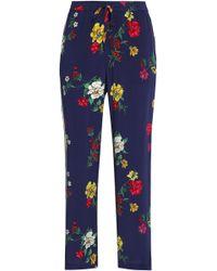 Joie - Woman Floral-print Silk Crepe De Chine Straight-leg Pants Indigo - Lyst