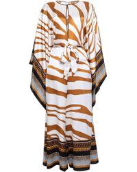Roberto Cavalli - Woman Draped Printed Silk-satin Jumpsuit Light Brown - Lyst