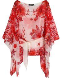 Roberto Cavalli - Draped Printed Silk-chiffon Blouse - Lyst