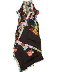 Preen By Thornton Bregazzi - Reversible Ruffle-trimmed Printed Silk Crepe De Chine Vest - Lyst