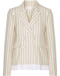 Victoria, Victoria Beckham - Pleated Striped Wool And Cotton-blend Blazer - Lyst