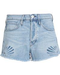 3x1 - Distressed Embroidered Denim Shorts Light Denim - Lyst