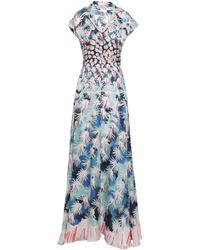 Temperley London - Woman Garden Cacti Printed Hammered Silk-blend Satin Gown Pastel Pink - Lyst
