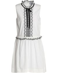 35c4a8e63416 RED Valentino - Woman Embroidered Cotton-poplin Mini Dress White - Lyst