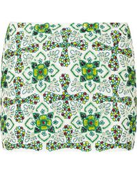 Pia Pauro - - Embellished Cotton-voile Mini Skirt - Green - Lyst