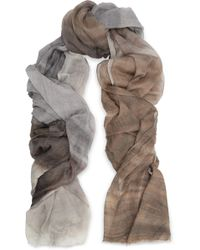Brunello Cucinelli - Frayed Checked Cashmere-blend Scarf Light Brown - Lyst