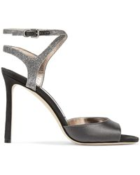 Jimmy Choo - Helen 100 Satin, Suede And Glittered Leather Sandals - Lyst