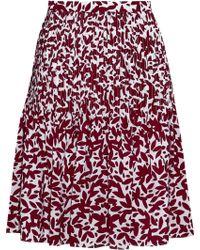 Oscar de la Renta - Pintucked Printed Silk Crepe De Chine Skirt - Lyst