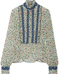 Anna Sui - Ruffle-trimmed Embroidered Printed Silk-georgette Blouse - Lyst